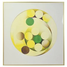 Vintage Mid-Century Modern Abstract Circles Spheres Watercolor Painting
