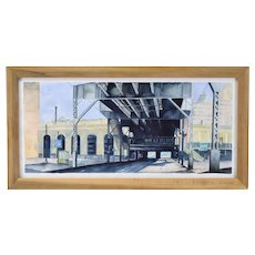 Steven Skinner Architectural Painting Clinton Lake St El Train Station Chicago