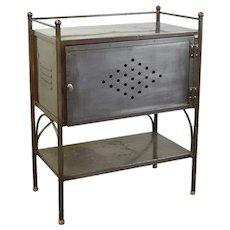 Vintage Steel Industrial Side Table Cabinet Nightstand Work Table