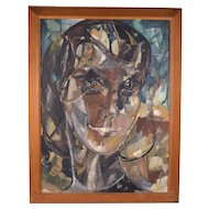 Large Vintage Mid-Century Modern Abstracted Face Young Woman Oil Painting