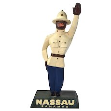 1930s Bahamas Art Deco Cubist Countertop Advertising Figure Traffic Cop
