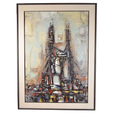 1955 Architectural Bridge Abstract Oil Painting Arthur Jacobson Chicago/Tempe