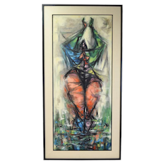 1953 Abstract Voluptuous Nude Oil Painting Arthur Jacobson Chicago Tempe