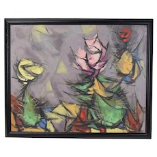 1953 Abstract Cactus Flowers Oil Painting Arthur Jacobson Chicago Tempe