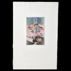 1970's Croatian Surrealist Erotic Aquatint Etching Virgil Nevjestic #2