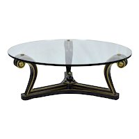 Mid-Century Empire Ebonized Scroll Coffee Table Glass Top by Fine Arts Furniture