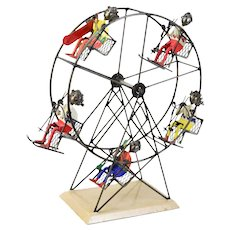 Ferris Wheel Ski Lift Metal Sculpture w Skiers Snowboarders by Felguerez