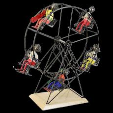 Ferris Wheel Ski Lift Metal Sculpture w Skiers Snowboarders by Felguerez