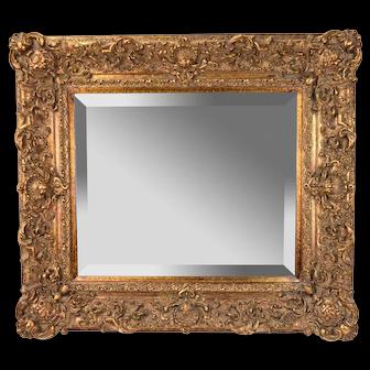 Antique Style Baker Beveled Glass Mirror in Ornate Giltwood Frame
