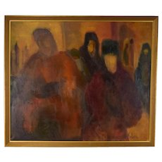 Large Impressionist Oil Painting Soft Focus Haunting Figures Signed Solich