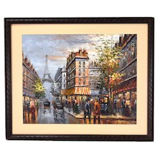 Vintage Impressionist Oil Painting Paris Street Scene w Eiffel Tower Signed