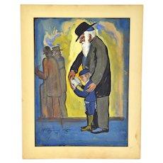 1929 Gouache Painting Jewish Boy Being Tutored A. Raymond Katz
