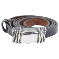 Barry Kieselstein Cord 1980's Sterling Silver Buckle with Reptile Skin Belt