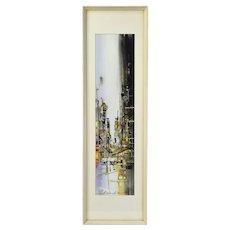 Atsushi Kikuchi Gouache Painting Abstract Street Scene