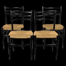 Vintage Set of 4 Mid Century Modern Gio Ponti Style Ebonized Italian Dining Chairs
