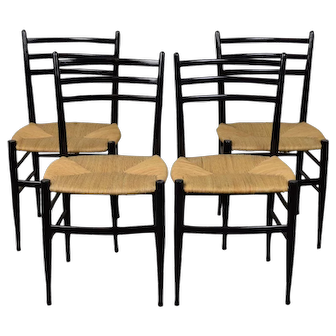 Vintage Set of 4 Mid Century Modern Gio Ponti Style Ebonized Italian Dining Chairs