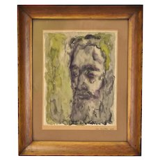 Vintage Watercolor Painting Portrait of Bearded Man Nik Krevitsky