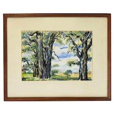 Vintage Watercolor Painting Woods Landscape signed Nik Krevitsky