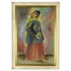 Vintage Chalk Watercolor Painting Woman Holding Flowers Nik Krevitsky