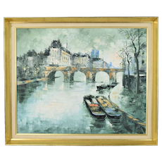 Vintage Modernist Painting Pont Neuf Paris Luc Cossier Walles French Polish