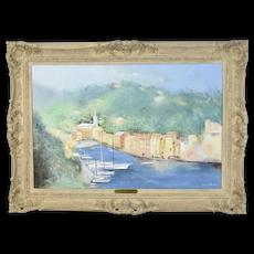 """""""Harbor at Portofino"""" Italy Impressionist Oil Painting Irene Bruns"""