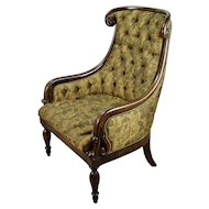 William Switzer Hand Carved Louis Philippe Style Lounge Chair
