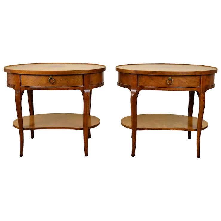 pair of baker milling road mahogany end tables or nightstands - Antique Mahogany End Tables