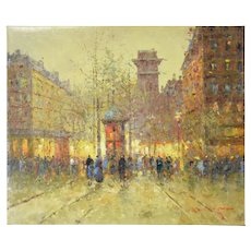 Impressionist Oil Painting Parisian Street Scene w Morris Column Morgan