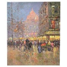 Impressionist Oil Painting Parisian Belle Epoque Street Scene w Dome Morgan