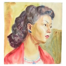 "Vintage 1950's Watercolor Painting ""Vera"" Portrait Young Asian Woman Dick Fort"