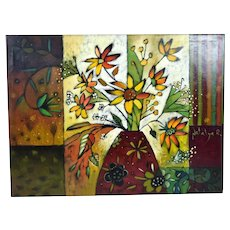 Natalya Romanovsky Vibrant Oil Painting Vase w Flowers Moldovan Artist