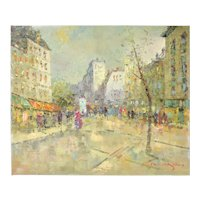 Impressionist Oil Painting Parisian Street Scene Morgan