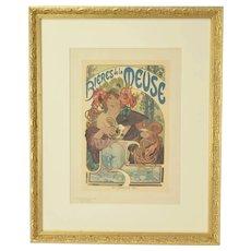 """Alphonse Mucha """"Bieres de la Meuse"""" Lithograph Les Maitres de L'Affice plt 182"""