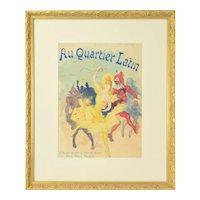 """Jules Cheret Belle Epoque Lithograph """"Au Quartier Latin"""" 1890 Paris Illustre"""