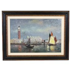 Large Impressionist Oil Painting St. Marks Campanile on Venetian Lagoon Morgan