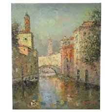 Impressionist Oil Painting Bridge Over Venetian Canal w St. Marks Morgan