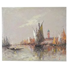 Impressionist Oil Painting Venetian Lagoon with St. Marks signed Morgan