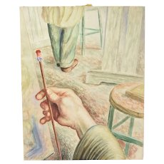 """Vintage 1950 Watercolor Perspective Painting """"Artists at Work"""" Dick Fort"""