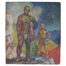 1950's Gouache Painting Muscular African-American Men in Nature Dick Fort