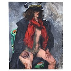 "Judith Roth ""War"" 1994 Oil Painting Nude Woman in Military Uniform"