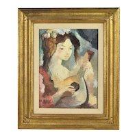 1970's Textured Oil Painting Woman w Bandurria Guitar sgnd Coronado Spain