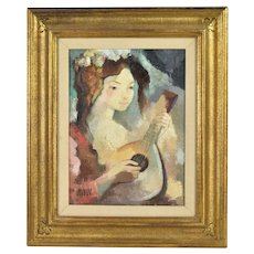 1970's Textured Oil Painting Woman w Bandurria Guitar sgnd Coronado Spain