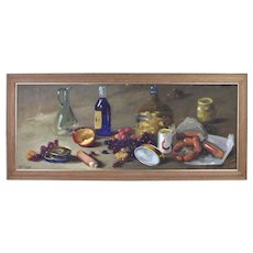 Vintage 1960's Impressionist Still Life Painting Wine Grapes Sausage Apple Ferraneo