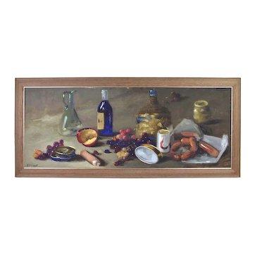 Vintage 1960's Impressionist Still Life Painting Wine Grapes Sausage Apple Ferraneo