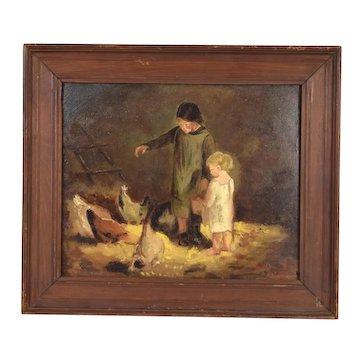 19th Century Oil Painting Children Feeding Chickens Emile Dantonet New Orleans