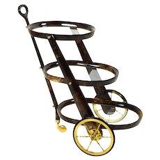 Aldo Tura Italian Mid-Century Modern Goatskin Three-Tier Bar Cart Trolley