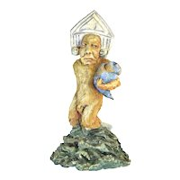 Vintage Studio Pottery Sculpture Nude Figure with Neoclassical Headdress Holding Tornado
