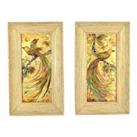 Pair Mid Century Bas-Relief Acrylic Exotic Bird Wall Sculptures sgd Rea as-is
