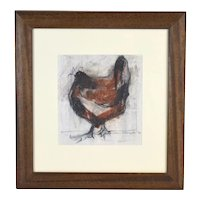 """Cathy Pilkington United Kingdom """"Hen I"""" Original Watercolor Painting Abstract Chicken"""