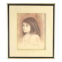 1968 Philip Butler White Colored Pencil Portrait of Young Girl Chicago artist